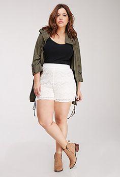 Floral Lace Shorts   Forever 21 PLUS   #f21plus