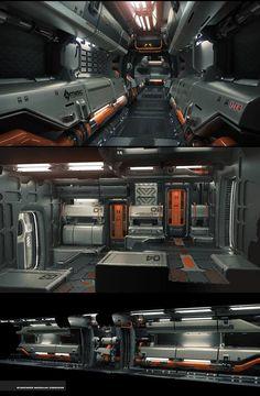 Sci Fi Spaceship Interior, Futuristic Interior, Spaceship Design, Spaceship Concept, Futuristic Architecture, Minimalist Architecture, Futuristic Design, Star Citizen, Sci Fi Environment