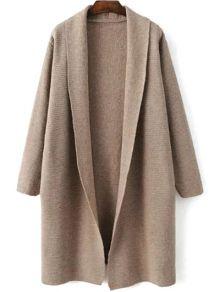 Loose Fitting Turn-Down Collar Long Sleeve Cardigan