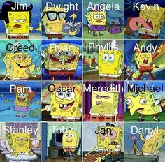 Funny Spongebob Memes, Funny Memes, Hilarious, Meme Meme, Top Memes, Funniest Memes, Dwight And Angela, The Office Characters, Cartoon Characters
