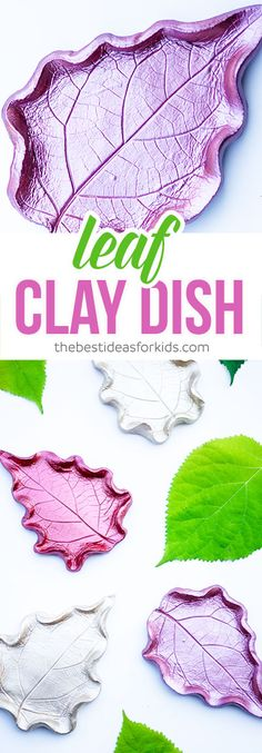 These leaf clay dish DIY are SO beautiful! This is a fun fall craft using leaves to make your own clay or ring dish. Beautiful keepsake for kids to make as gifts.  Air Dry Clay ~ Leaf Bowl ~ Leaf Dish ~ Ring Dish ~ Clay Dish~ Air Dry Clay Ideas  via @bestideaskids