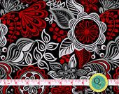 Floreo Floral Modern Large Print Bold Red Black Gray and White Fabric