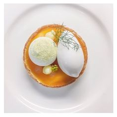 Passionfruit tart with lime meringue, coconut sorbet and fennel.