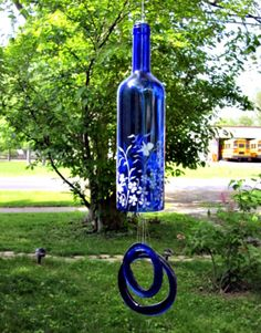 wine+bottle+wind+chimes | Recycled Blue Wine Bottle Garden Wind Chimes Bell Style Garden in ...