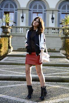 baseball jacket on red leather skirt #lovelypepa