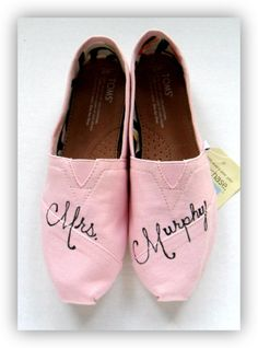 abbfc953d1a7 Bride s MRS Hand Painted Pink Icing TOMS