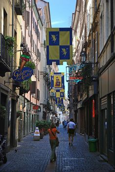 Side street off Via Garibaldi in Turin, Piedmont, Italy