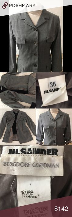 """JILL SANDER STRETCH WOOL BLEND BLAZER JACKET SZ 6 JILL SANDER FOR BERGDORF GOODMAN jacket. Pre owned, & in excellent condition. No rips, holes or stains. Smoke free home. SZ 38 US 6. Made in Germany.  Sleeves R hemmed for this ( pictured) look. Taken down will add 2 1/2"""" to length given. I'm leaving them stitched up so they can be left as you see, or taken down all the way. Wool, Nylon and Spandex. 2 front lined pockets and 2 faux at chest. Shoulder 2 shoulder widest: 16 1/2"""" sleeve length (…"""