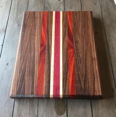 Yet another cutting board! Made of Walnut, Maple, Purpleheart, and Padauk. Diy Cutting Board, Wood Cutting Boards, Butcher Block Cutting Board, Woodworking Patterns, Custom Woodworking, Woodworking Projects Plans, Diy Wood Projects, Wood Crafts, Patterned Furniture