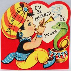 J1116 60s Snake Charmer Would Be CHARMED! Vintage Diecut Valentine Card