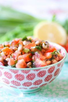 Bean Tabbouleh. Used 2 lemons, and 1 and half bunches of both spring onions and parsley.