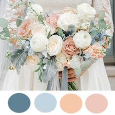 A breathtaking, elegant and serene color palette. Pastel Wedding Colors, Blue And Blush Wedding, Rustic Wedding Colors, Dusty Blue Weddings, Summer Wedding Colors, Peach Wedding Theme, Slate Wedding, Fall Wedding, Dream Wedding
