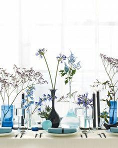 Blue wedding bottle decoration