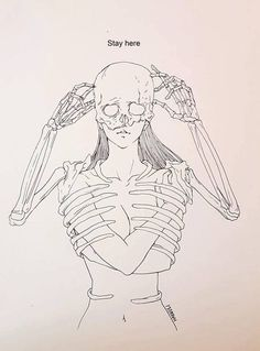 Illustration by Haenuli Shin Skeleton Drawings, Skeleton Art, Haenuli Shin, Drawing Sketches, My Drawings, Sketching, Depression Art, Doodle Art, Dark Art