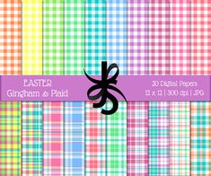 Digital Scrapbook Papers-Easter Plaid-Gingham-Pastel-Plaid Patterns-Easter Clipart-Pastel Printable Papers-Instant Download Clip Art