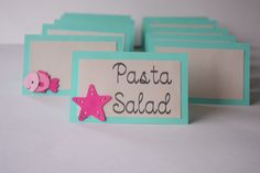 Food Labels - Mermaid Food Tents -Set of 10(CUSTOM)- Under the Sea Theme - Mermaid Theme - Birthday Party - Girl Birthday Party- Place Cards by PaperCreationsLC on Etsy https://www.etsy.com/listing/238822454/food-labels-mermaid-food-tents-set-of