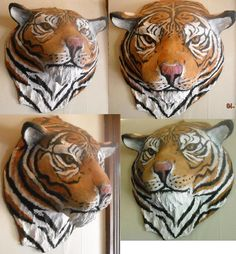 tiger head mount, glass eyes, acrylic paint