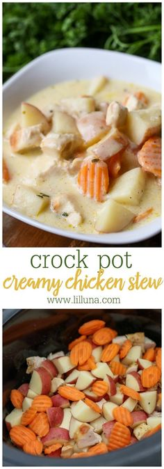 Crock Pot Creamy Chicken Stew - a simple, convenient, and TASTY stew recipe made in the crock pot! Made with chicken, potatoes, carrots, cream of chicken soup, sour cream, ranch dressing mix and more, this soup is BURSTING with flavor!!