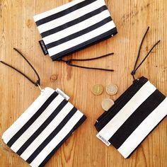 Handmade black and white pouches by Johanna Sandberg. @designsandberg