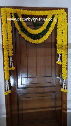 Decor by Krishna AP/ Telangana/ Karnataka/ Tamilnadu/ USA/Australia Diwali Decorations At Home, Wedding Stage Decorations, Festival Decorations, Flower Decorations, Home Flower Decor, Housewarming Decorations, Pooja Room Door Design, Rangoli Designs Flower, Wedding Doors