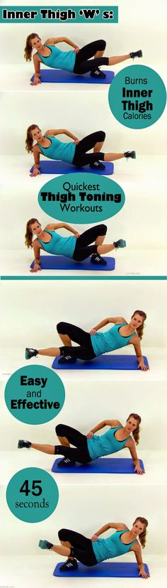 Inner Thigh W's:  Time period: 45 Seconds  Steps:   Lie on the floor with hip raised from the ground.  Put all your weight on the right el...