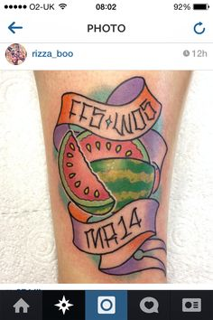Watermelon pastel tattoo cute neotraditional
