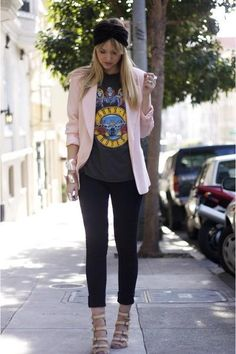 Minus the high heels but live mixing casual tee with structured blazer
