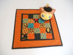 Modern Fall Halloween Quilted Table Topper by ForgetMeNotQuilteds