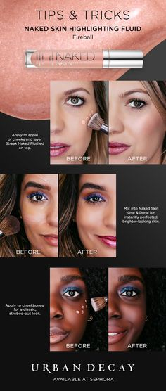 Check out Urban Decay's illuminating tips & tricks and grab your favorite Naked Skin Highlighting Fluid at beautymakeuptips Beauty Hacks For Teens, Beauty Secrets, Beauty Tips, Beauty Tutorials, Beauty Stuff, Beauty Ideas, How To Apply Makeup, Learn Makeup, Applying Makeup