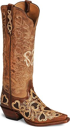 Tony Lama Signature Series Hearts & Scroll Boot....the question is pink or cognac......help me!!!!!!!