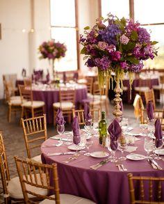 Purple Wedding Decor, Raspberry Plain Wedding Reception: Becca + Kyle by lucinda Purple Wedding Decorations, Purple Wedding Invitations, Wedding Themes, Wedding Colors, Wedding Flowers, Magenta Wedding, Plum Wedding Centerpieces, Decor Wedding, Floral Wedding