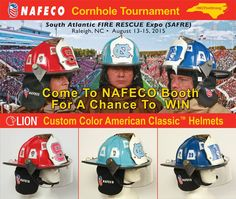Join us this weekend at SAFRE! Stop by NAFECO's booth at South Atlantic Fire Rescue Expo on August 14-15, 2015 in Raleigh, NC and register to win one of these LION Custom Color Helmets.
