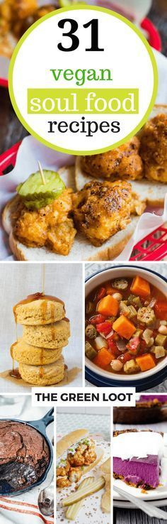 These Vegan Soul Food Recipes make the best, easy, healthy, plant-based dinners. African American & Southern meals like raw greens, mac and cheese, black eyed peas and much more! | The Green Loot #vegan #soulfood Veggie Recipes, Whole Food Recipes, Vegetarian Recipes, Cooking Recipes, Healthy Recipes, Vegan Foods, Vegan Dishes, Food Dishes, Southern Recipes