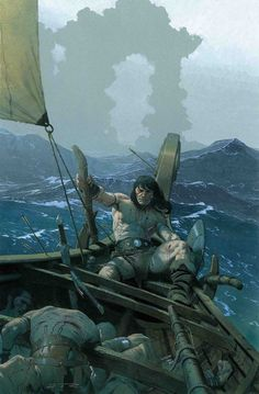 m Barbarian Sail Boat sea Lake story Wilderness Conan Fantasy Kunst, Fantasy Art, Comic Books Art, Book Art, Conan Der Barbar, Robert E Howard, Conan The Destroyer, Savage Worlds, Ligne Claire