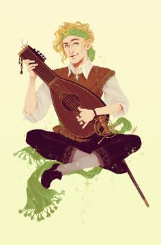 The lovely human bard: Apollo Erion :D!  'Apollo's pretty much defined from his past - ran away from neglectful parents as a kid, was an urchin for a while, but then got picked up from the streets by a lady's troop of entertainers and was pretty much...