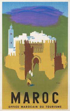 Morocco - Maroc - (artist: Even) - Vintage Advertisement Giclee Art Print, Gallery Framed, Espresso Wood), Multi Travel Ads, Travel And Tourism, Vintage Travel Posters, Vintage Ads, Morocco Travel, Visit Morocco, Morocco Tourism, Tourism Poster, Travel Illustration