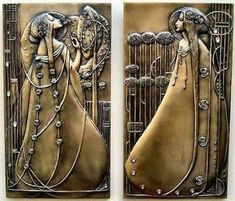 Pair of art nouveau wall plaques, Charles Rennie Mackintosh Charles Rennie Mackintosh, Azulejos Art Nouveau, Design Art Nouveau, Bijoux Art Nouveau, Art And Craft, Art Crafts, Glasgow School Of Art, Glasgow Girls, Arts And Crafts Movement