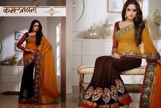 Superb Designer Party wear Brown and Orange Crape Jacquard Saree with Chiffon Bandhani Jacquard Pallu and Contrast matching Dhupian Netted Blouse. Heavy work en-crafted all over.