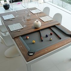 This is a dining table and a pool table in one.- This is a dining table and a pool table in one. This is a dining table and a pool table in one. Dining Room Pool Table, Dining Table Design, Dining Tables, Diy Pool Table, Bumper Pool Table, Outdoor Pool Table, Play Table, Outdoor Dining, Dining Chair