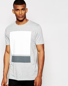 ASOS Longline T-Shirt With Block Chest Print In Relaxed Skater Fit