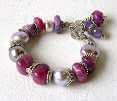 Parrie Handmade Beaded Bracelet Lavender Purple Pearls Gemstones via Etsy