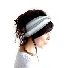 Tie Up Headscarf Grey and White Stripe by ChiChiDee on Etsy, £12.00