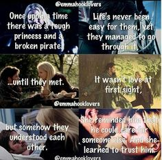 I love Emma and Hook together. I also love how they showed true love didn't start with love at first sight. It started with hate.