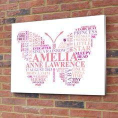 Personalised Butterfly Word Art. New baby girl by AliChappellUK, £10.00