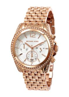 MICHAEL KORS Rose Gold Ladies Chronograph Pressley Bracelet Watch Michael Kors Sale, Michael Kors Rose Gold, Jewelry 2014, Designer Collection, Gold Watch, Chronograph, Bracelet Watch, Watches, Lady