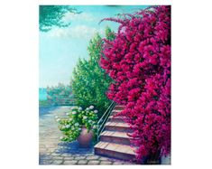 Free shipping! Pink flowers blossom original oil painting. Greek island summer landscape. home decor housewarming gift picture Bougainvillea