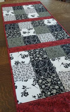 Quilted Table Runner, traditional, shabby chic, country style, patchwork pattern, black, gray, white and red floral and abstract fabrics