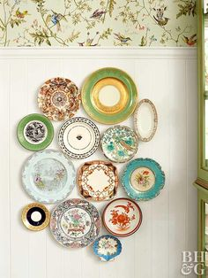 Dessert plates, bowls, trays—they're all good in Grace's collage of dishes picked up at estate sales. She hangs them with Command strips so they're easy to change.