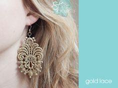 Easy DIY Lace applique earrings.