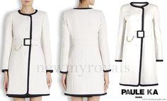 Paule Ka White Two-Tone Belted Coat